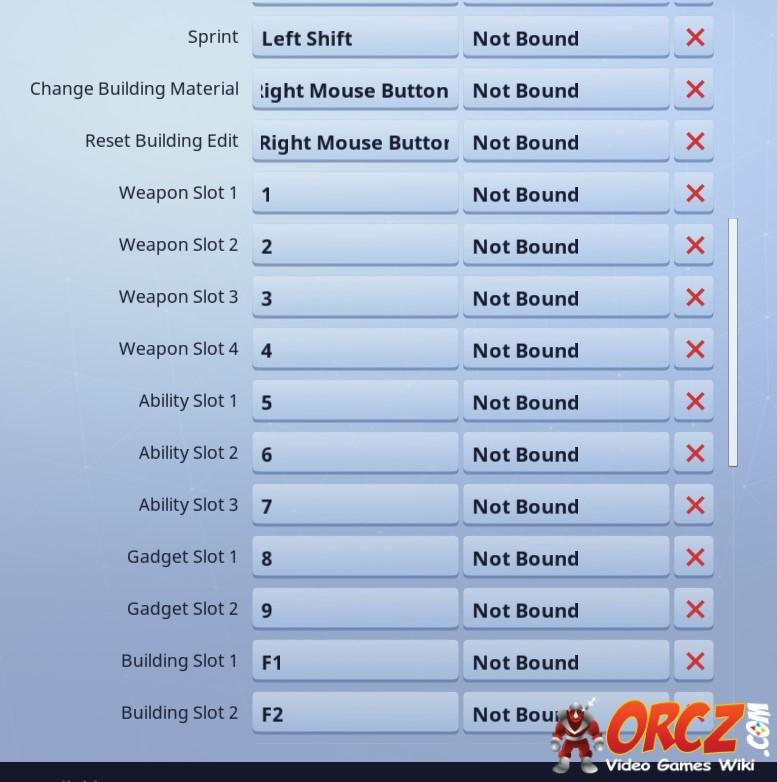 controls for fortnite battle royale pc