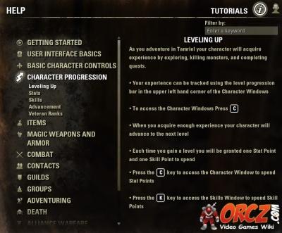 ESO: Character Progression - Orcz com, The Video Games Wiki