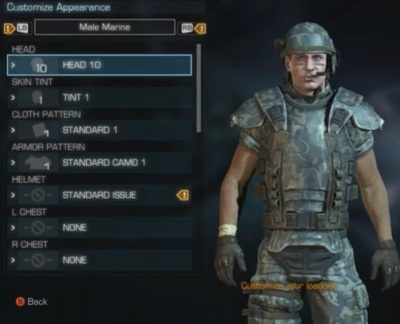 Aliens Colonial Marines Customize Marine Appearance