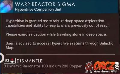 mans sky warp reactor sigma orczcom  video games wiki