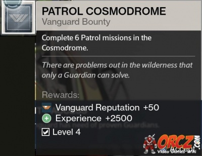 The bounty patrol cosmodrome in destiny