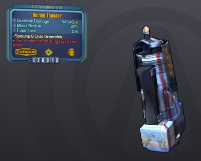 Image result for borderlands 2 rolling thunder grenade