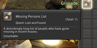 FFXIV ARR: Missing Persons List
