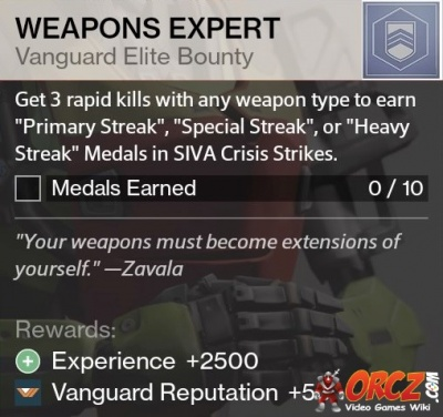 Destiny Weapons Expert Bounty Orczcom The Video Games Wiki