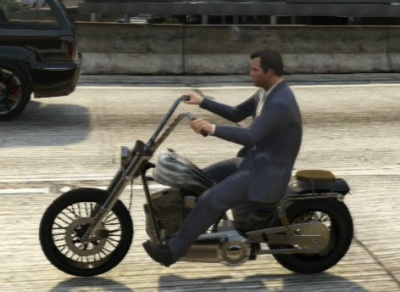 Michael riding a Western Daemon motorcycle in Grand Theft Auto 5 Gta V Western Daemon