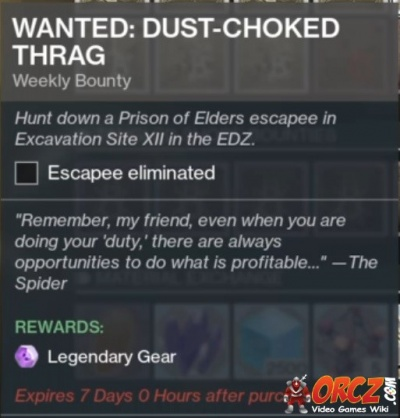 Destiny 2 Wanted Dust Coated Thrag Orczcom The Video Games Wiki
