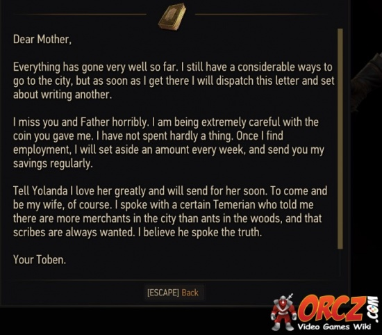 Witcher 3: Letter from Toben   Orcz.com, The Video Games Wiki