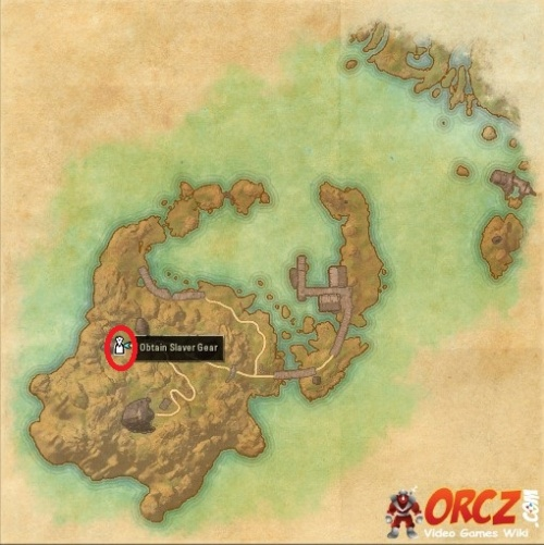 Map of where to obtain the Slaver Gear in Firemoth Island