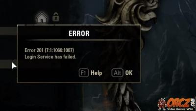 ESO: Error 201 Login Service has failed - Orcz com, The Video Games Wiki